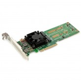 NVMe SSD Switch Adapter for M.2, X8, (2) M.2(M Key) connectors, Low Profile, built-in a PEX-8747 controller