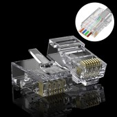 CAT.6A RJ-45 Pass Through Connectors, CAT.6A Ethernet Jack Modular UTP Plug Connector with Flexible Latch, 100-Pack
