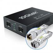 10GbE Media Converter, 10GBase-T reach 30 meters, SFP+ module up to 300 m~10 km