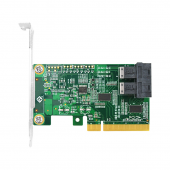 PCIe to NVMe Adapter Card for U.2 SSD, X8, (2) SFF-8643